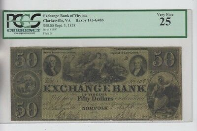 Obsolete Currency Norfolk (Clarksville) Virginia PCGS Graded vf 25