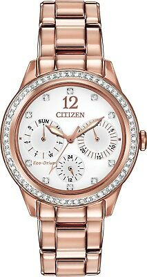 Citizen FD2013-50A Women's Eco-Drive Rose Gold Tone Silhouette Crystal Watch