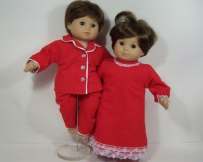 MATCHING RED PAJAMAS Pjs Nightgown Doll Clothes For Bitty Baby Twins (Debs)