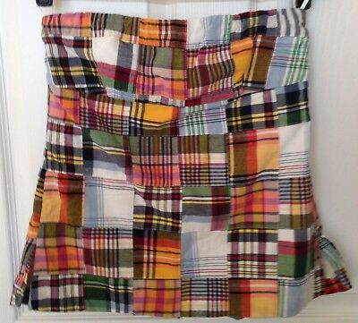 J. Crew Strapless Top Lined 100% Cotton Madras Plaid Patchwork Womens Size 4