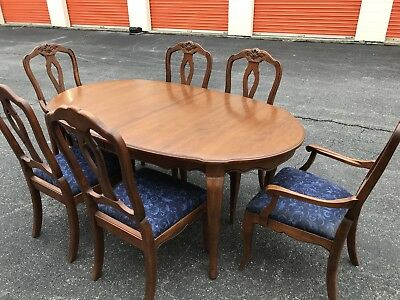 ETHAN ALLEN Country French Dining TABLE + 6 CHAIRS & Leaves Solid Cherry EUC