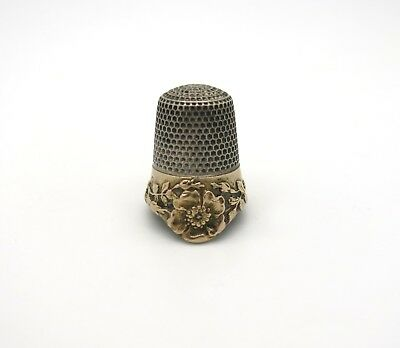 Rare Antique Sterling Silver and Gold Filled  Thimble by Ketcham & McDougall