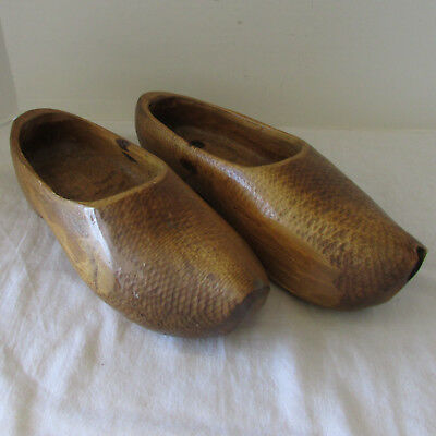 Vintage Holland Dutch Farmer's Wooden Shoes Hand Carved for Wearing with Patina