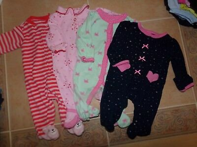 00cf0fc9c LOT OF 4 Newborn Girl Sleepers, Carter's, Hearts, Crabs, Kitty Cat ...