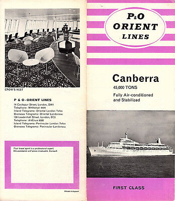 S.S. Canberra P&O Orient Lines Brochure First Class Accommodations Photos Layout
