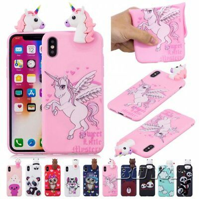 For iPhone OWL silicone Bear  Phone Case 3D Cute animal Soft TPU unicorn cover