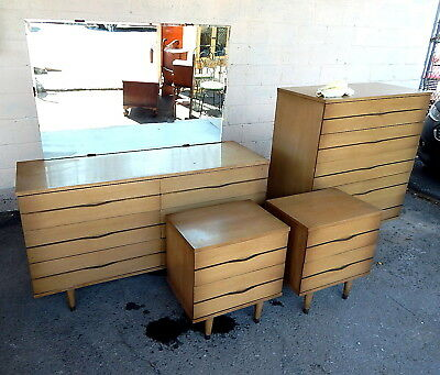 MID CENTURY MODERN Link Taylor lacquered mahogany Dresser Chest Bedroom Set