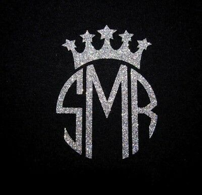 "DIY 3"" Iron On Vinyl Crown Monogram You Pick Color Reg or Glitter SHIPS FREE!"