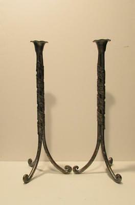 Pair of Arts & Crafts Pewter Tall Candlestick Holders with an Art Nouveau Wrap