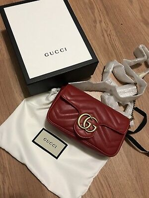 46ceb53017ad GUCCI GG Marmont Leather Super Mini Bag Red SOLD OUT NEW with Dust Bag & Box