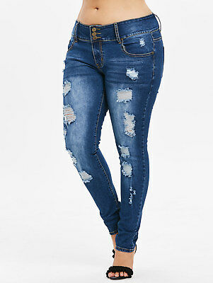 Plus Size Womens Faded Distressed Jeans Destroyed Ripped Slim Skinny Denim Pants