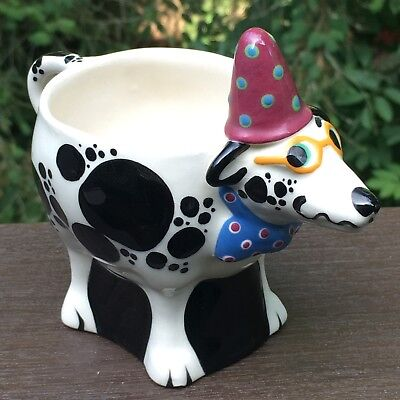 Signed Tom Hatton Smiling Party Dog Mug Glasses Hat Bowtie1993