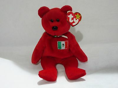 Ty Beanie Babies Osito the Bear with Mexican Flag 1999 Retired w/ swing tag