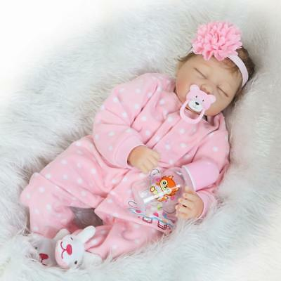 Alive Reborn Baby Doll Baby Girl Toddler 22 Inch 55cm Soft Silicone Eyes Closed