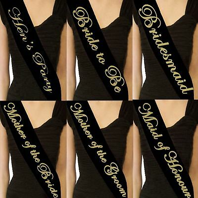 Sashes Hens Night Party Text Sash Bridal Bride To Be Bridesmaid Wedding Black