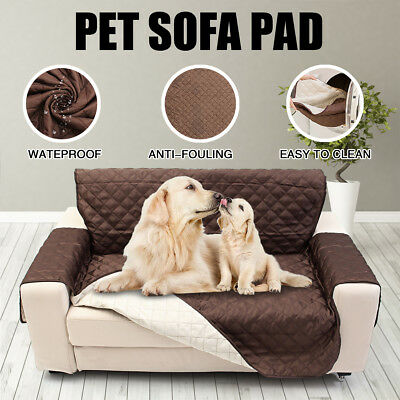 Reversible Quilted Sofa Cover Couch Chair Throw Pet Dog Kids Furniture Protector