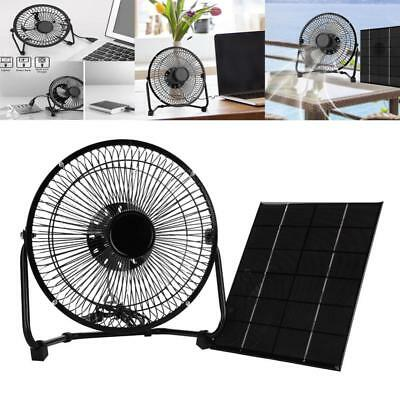 "8"" USB Solar Panel Iron Fan Powered 5.2W For Outdoor Home Cooling Ventilation SA"
