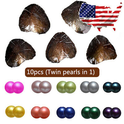 US Stock 10Pcs Akoya Oyster With Twins Pearl 7-8mm Freshwater Wish Color Pearls