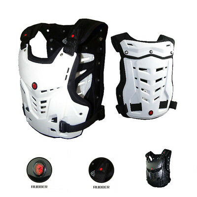 Motorcycle Body Armor Jacket Motocross Back Shoulder Protector Guards Race White