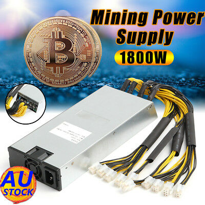 AU 1800W Bitcoin Mining Miner Power Supply 94% For Antminer S7 S9 12.5/13/13.5T
