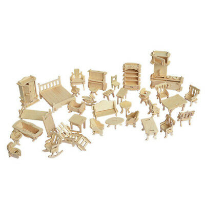 34xKit Nature Wooden Furniture Dolls House Mini Toys Kids Gifts Role Playing