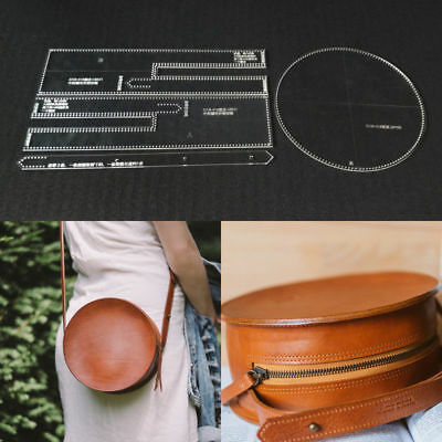 Leather Craft DIY Clear Pattern Shoulder Bag Stencil Template Acrylic Round Bag