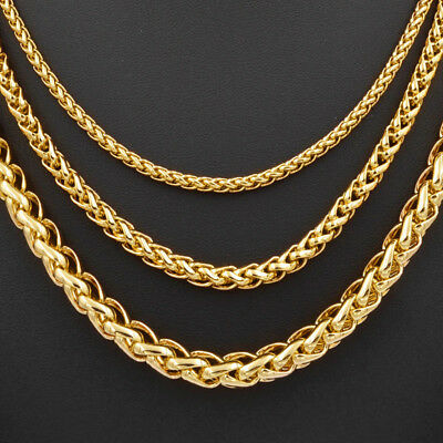 3/5/7mm Fashion Jewelry Wheat Link Chain 18K Yellow Gold Filled Necklace C02YN