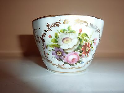 19Th Century French Porcelain 8.5 Cm Diam Cup With Gilt & Hand Painted Flowers