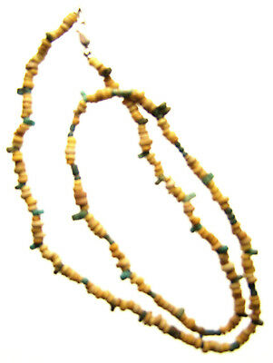 Egyptian Mummy Bead Necklace, Yellow & Blue, 19 inches,c 600-300 BC or Earlier