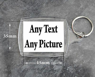 PERSONALISED KEYRING Any Photo Any Text - Large 45X35mm Picture - Hen Stag Pets