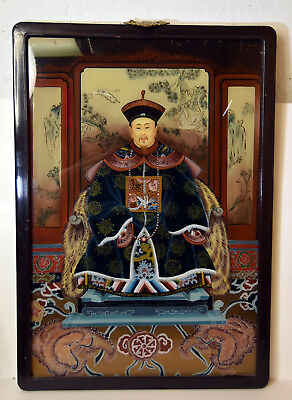 """25"""" Vintage Chinese Reverse Painting on Glass Ancestor Man Foo Dogs Panel Decor"""