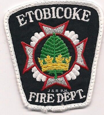"""*USED* Etobicoke Fire Dept., Ontario, Canada small (3"""" x 3.25"""" size)  fire patch"""