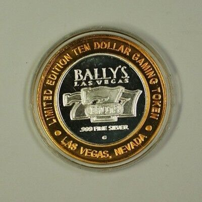 Bally's Las Vegas Nevada Ten Dollar Silver Gaming Token Center Is .999 Pure