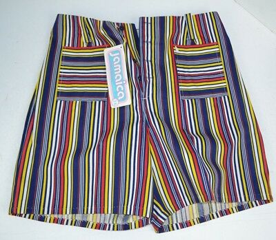 Vintage 1970's Womens Jamaica Shorts Multi-Color Stripes, Long Shorts 36 NOS