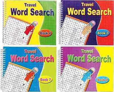 Set Of 4 Spiral Bound Travel Word Search Books (170 Puzzles Per Book) *NEW*