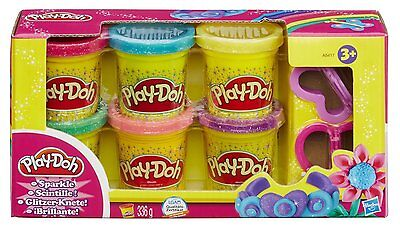 Play Doh Sparkle Compound Inc 6 Cans & 2 Cutters [Ages 3+] *BRAND NEW*
