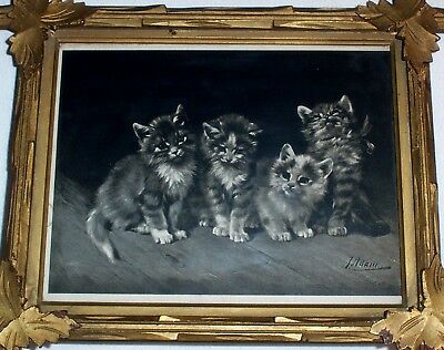 1900 Little Scamps KITTENS by Julius Adam Antique Cats Print Frame 118 Years Old