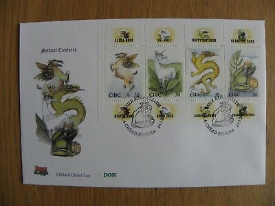 Ireland Eire - 2000 Mythical Creatures Booklet Pane First Day Cover FDC