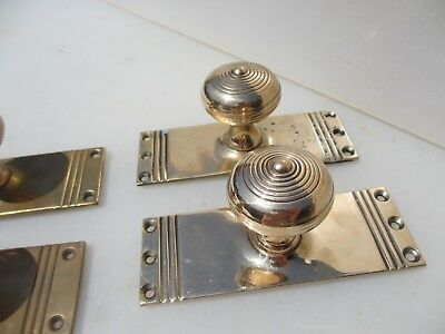 "Victorian Bronze Door Knobs Handles Reeded ""Gibbons"" Vintage Old Antique Brass"