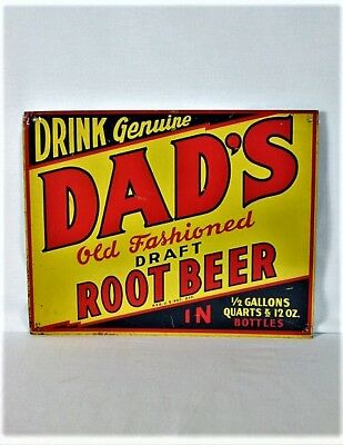 "VINTAGE RARE 1940s DADS ROOT BEER SODA POP BOTTLE GAS STATION 14"" METAL SIGN"