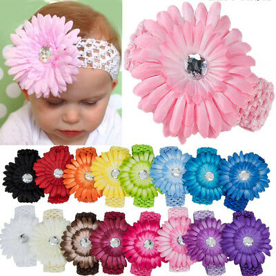 UK Wholesale Baby Girls Infant Toddler Daisy Flower Elastic Headband Hair Band