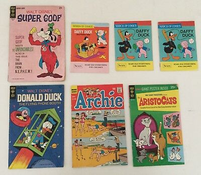 Vintage~Walt Disney Donald Duck Comic Books ~Lot of 7~1960's 1970's