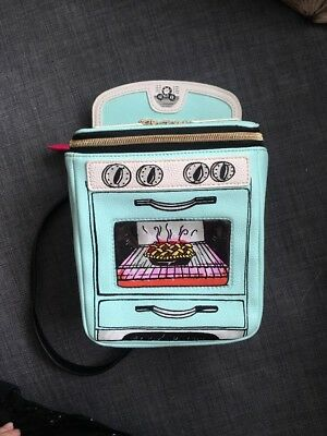 b4304a519931 BETSEY JOHNSON AQUA Oven Stove With Pie Crossbody Purse Novelty Kitsch Bag