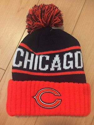 7fa47bd132083 New NFL Chicago Bears city winter skull hat Navy Orange C embroidery pom