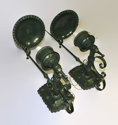 "Huge 30"" Pair Of Vintage Made In Spain Spanish Revival Iron Outdoor Wall Sconces"