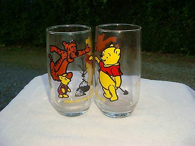 Winnie the Pooh VINTAGE 1970's Sears  Glass Tigger  Piglet disney LOT OF 2