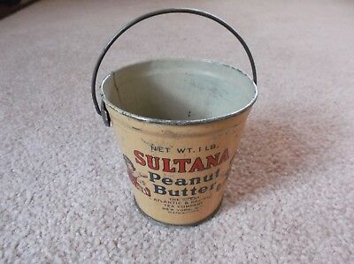Antique Sultana Peanut Butter Tin Pail Bucket