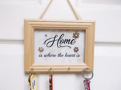 Hanging Decorative Keys Frame Plaque with Glass Front Four Key Hooks