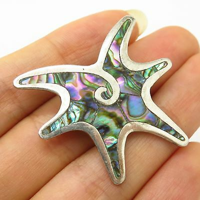 Vtg Mexico 925 Sterling Silver Abalone Shell Modernist Star Design Pin Brooch