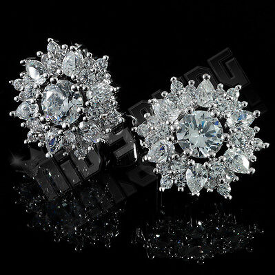18K White Gold Plated Out Iced Simulated Diamond Round Stud Micro pave Earrings